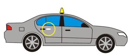 Image of a sedan taxi depicting the passenger and driver side door. The passenger door shows a yellow circle 2.5 cm to the right of the door handle. There is no required placement for driver side door.
