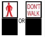 Illustration showing a red man and a red don't walk sign indicating that pedestrians must stop and wait