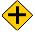 Yellow diamond cross sign