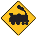 Yellow diamond with a train sign