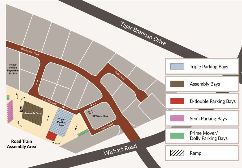 A map showing the location of the assembly area in the truck central at the corner of Tiger Brennan Drive and Wishart Road