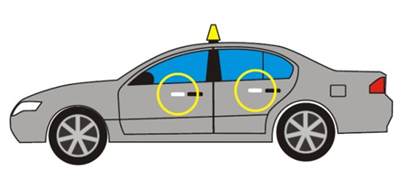 Image of a sedan taxi depicting the front and rear passenger side door. The passengers doors shows a yellow circle 2.5 cm to the left of the door handles.