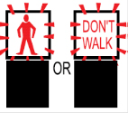 Illustration showing a flashing red man and a don't walk sign indicating that pedestrians must not start crossing but may finish crossing