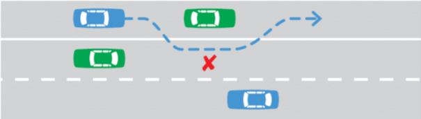 Illustration of three lanes of traffic. One lane is seperated from the other two by a single white unbroken line. Cars in this lane cannot overtake.