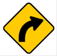 Yellow diamond arrow sign – curve sign