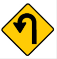 Yellow diamond hook arrow sign – hairpin bend
