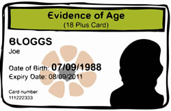 Example of a evidence of age card