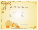 Duck birth certificate