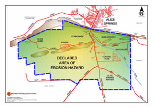 Alice Springs erosion hazard area map