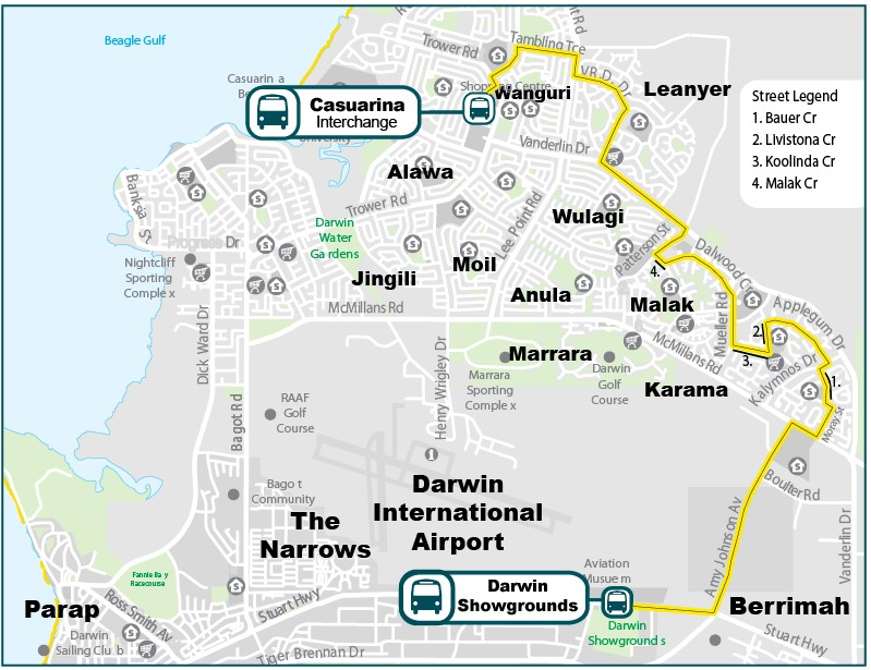 Map of the Darwin Show bus route from Casuarina Interchange