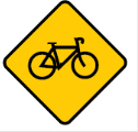 Yellow diamond with a bicycle sign