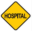 Yellow diamond with the word Hospital sign