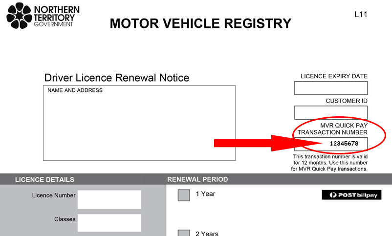 Driver Licence Renewal Notice showing MVR Quickpay transaction number