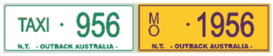 Example of a taxi number plate