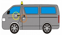 Image of a minibus taxi depicting the passenger front door and passenger sliding door. The passenger front door shows a yellow circle 2.5cm to the left of the door handle, this is the required area for a braille label. The passenger rear sliding door shows an orange circle 2.5cm underneath the door handle, this is also a required area for a braille label on a minibus taxi.