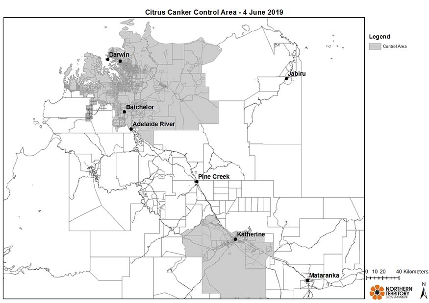 A map showing the two citrus canker control areas as described above