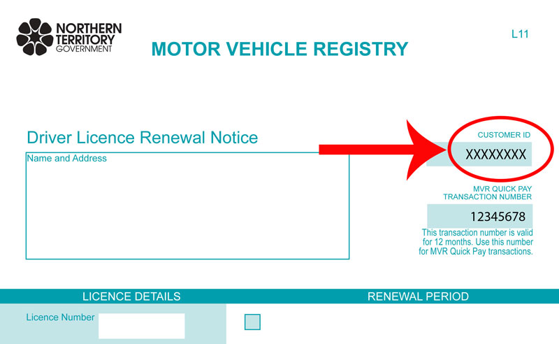 Driver licence renewal notice showing MVR customer ID number