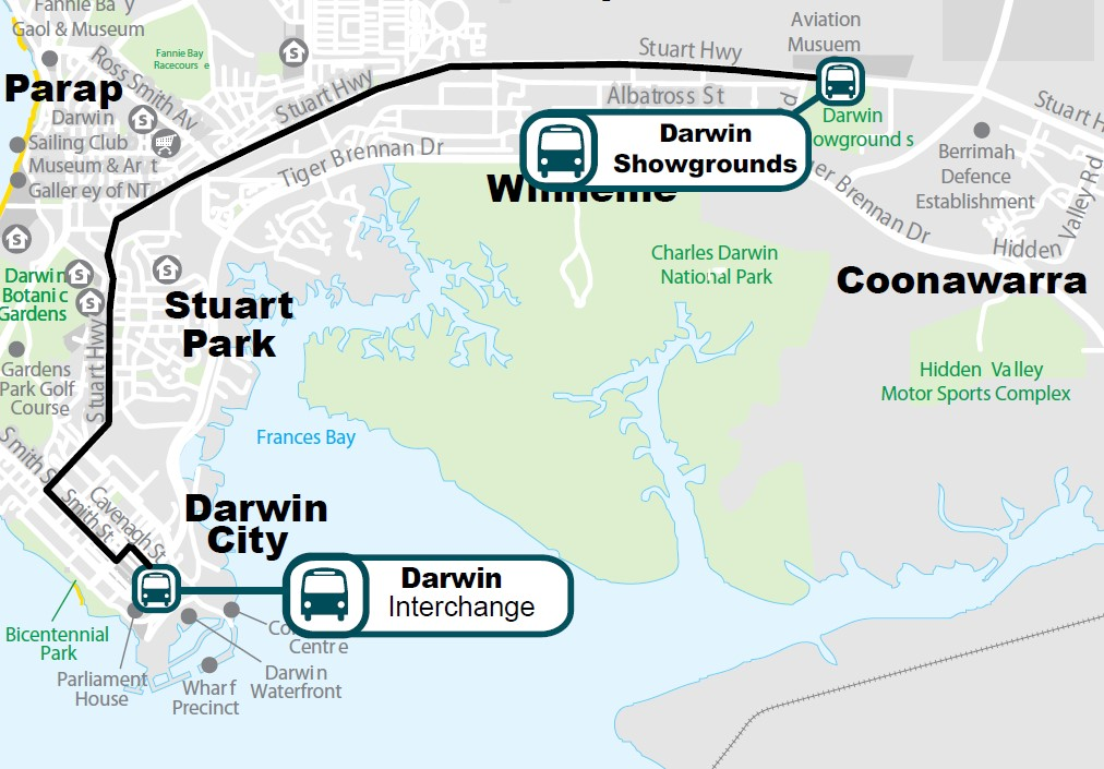 Map of the Darwin Show bus route from Darwin Interchange