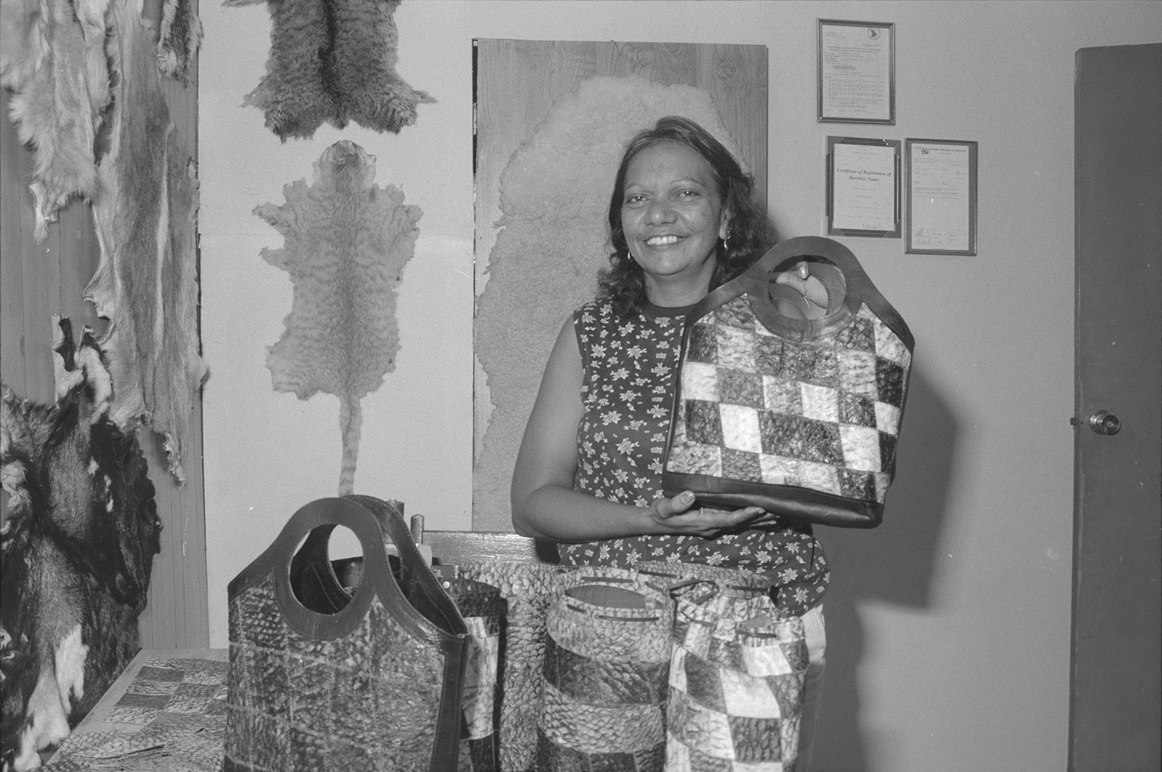 Industry, fish hide farming products, Barramundi skin fashion accessories, 2 February 1990<br />Image courtesy of Library & Archives NT,  Department of the Chief Minister, NTRS 3823 P1, Box 11, BW2881, Image 10