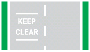 Illustration of keep clear road markings