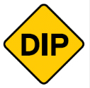 Yellow diamond with the word dip sign