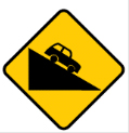 Yellow diamond with car on a hill sign