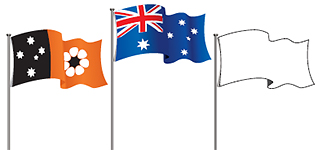 Image showing the NT flag, the Australian flag and an unidentified flag. The Australian flag is in a higher position than the other two flags.