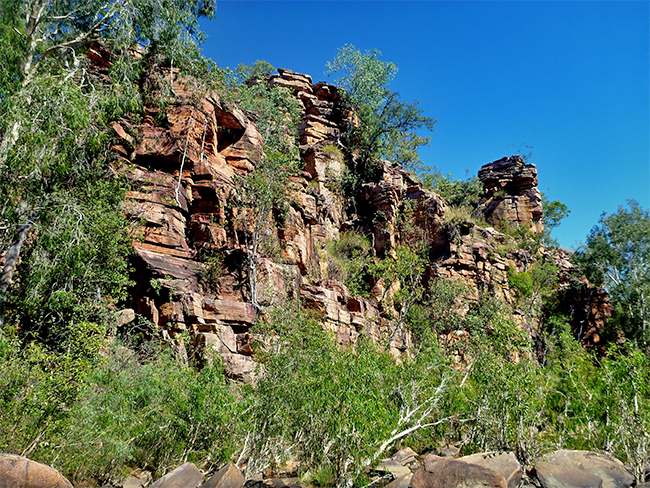 Umbrawarra Gorge Nature Park - sharp red cliffs