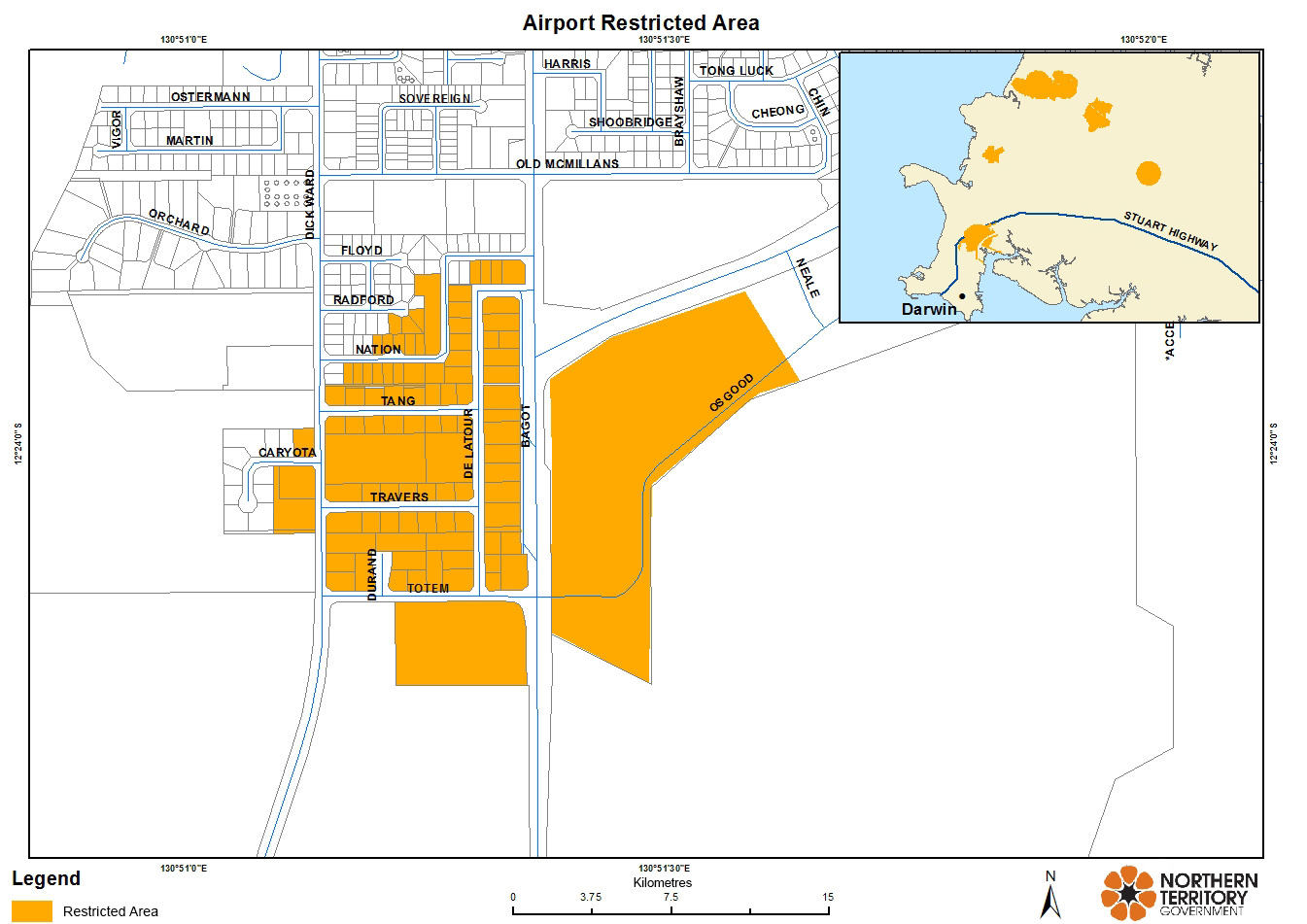 A map showing the restricted area of the Darwin Airport region.