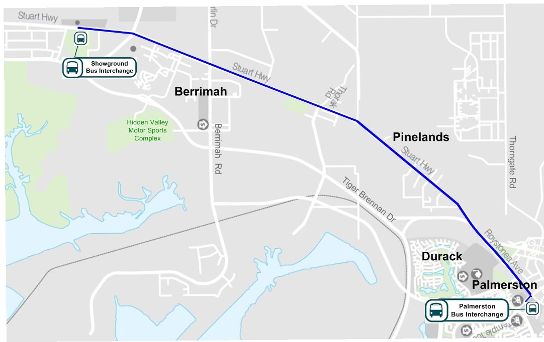 Map of the Darwin Show bus route from Palmerston Interchange