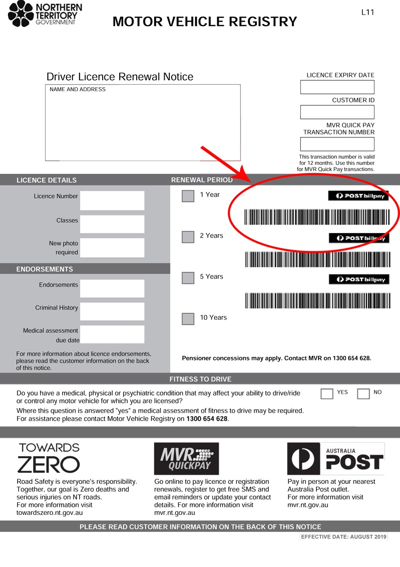 Example of where the bar code is on your licence renewal notice
