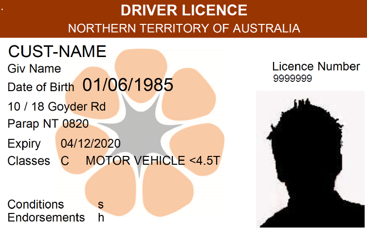 Old driver licence - front view design