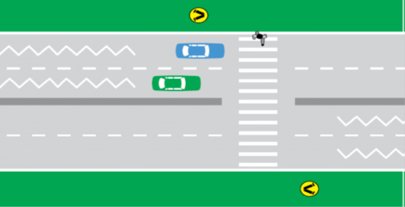 Illustration showing cars stopped at a pedestrian crossing while a person steps on to the crossing
