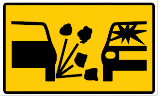Yellow rectangle sign with cars and rocks