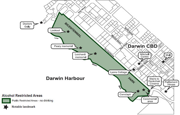 Map of The Esplanade area in Darwin which describes where you can't drink alcohol.