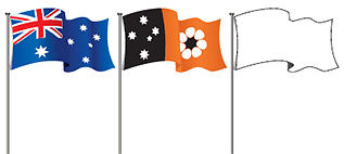 Image showing, the Australian flag, the NT flag and an unidentified flag