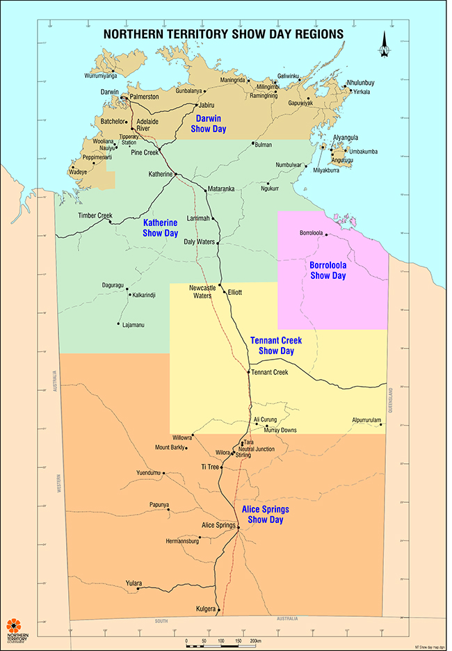 Map showing different show day regions in the Northern Territory