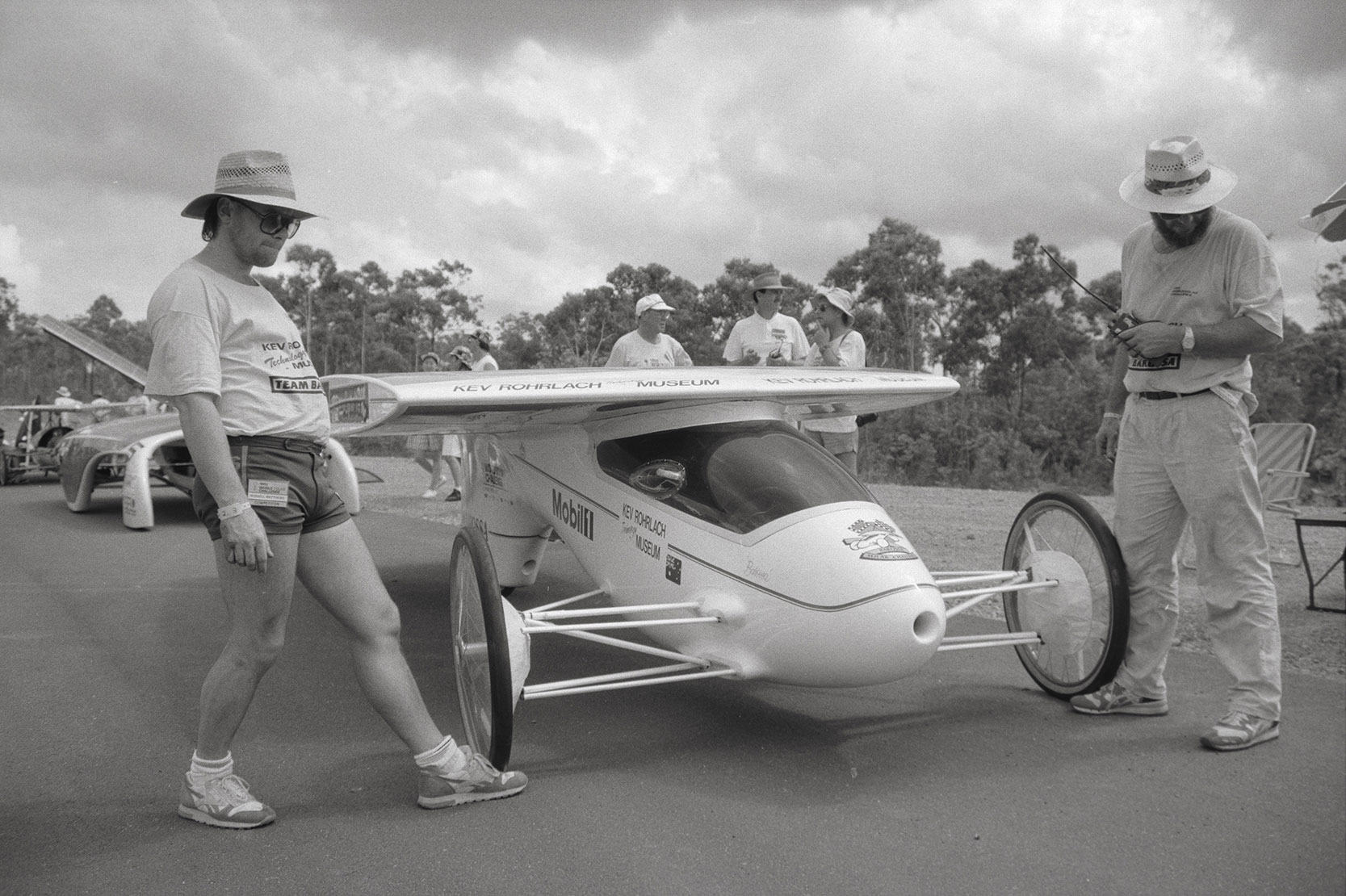 Solar cars road test for Darwin to Adelaide race, 10 December 1990<br />Image courtesy of Library & Archives NT,  Department of the Chief Minister, NTRS 3823 P1, Box 11, BW2947, Image 2