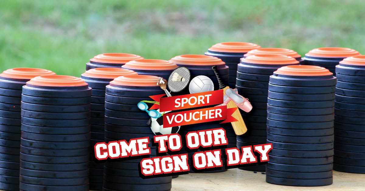 Sport voucher sign on graphic