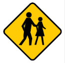 Yellow diamond with walking people sign