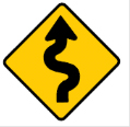 Yellow diamond bendy arrow sign