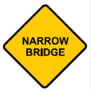 Yellow diamond with Narrow Bridge sign