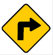 Yellow diamond arrow sign – turn sign