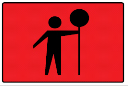 Rectangle sign with an image of a person holding a sign