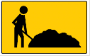 Rectangle sign with an image of a person digging