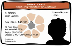 Example of a driver licence