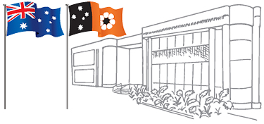Image showing the NT flag and the Australian flag in front of a building