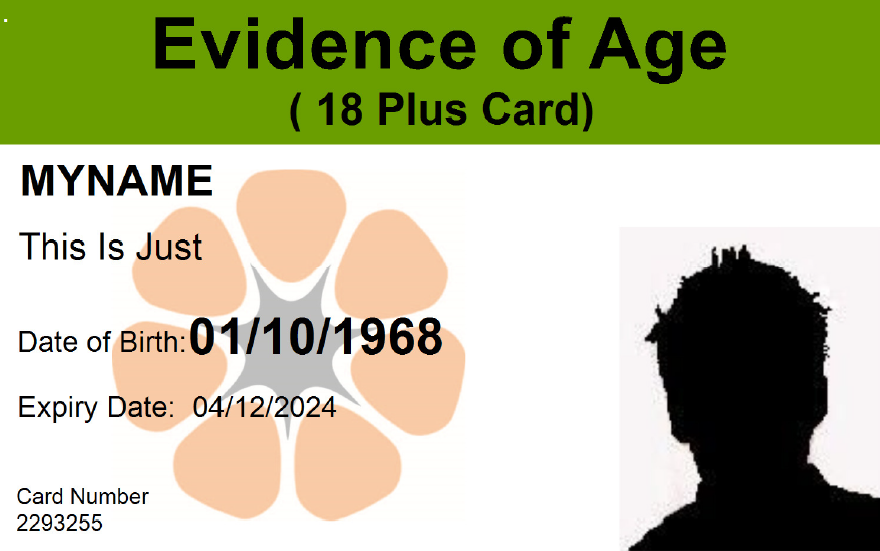 Old evidence of age card - front view design