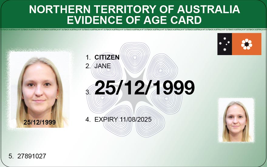 New evidence of age card - front view design