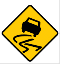 Yellow diamond with a swerving car sign